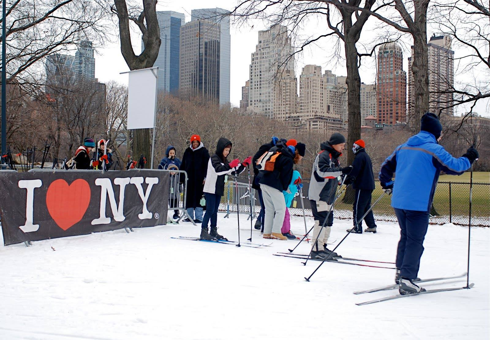 People on skis in Central Park.