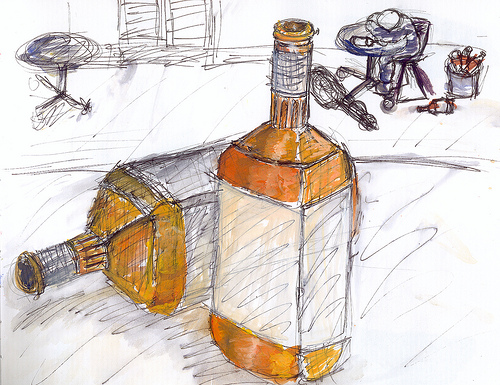 Drawing of whiskey bottles